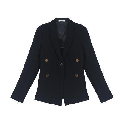 gold button point jacket black