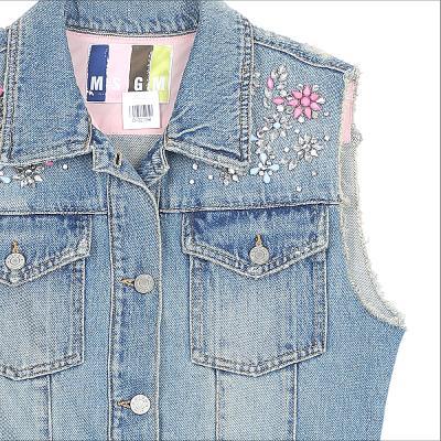 beads detail sleeveless denim jacket