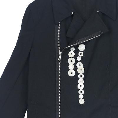 button detail string rider jacket
