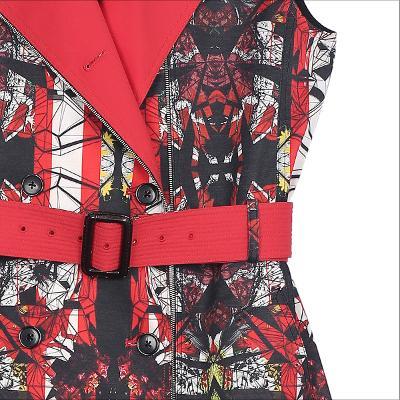 unique pattern belted coat multi