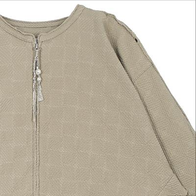 check pattern drop shoulder zip-up