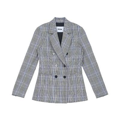 check pattern double button jacket