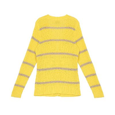 stripe pattern v-neck cardigan yellow