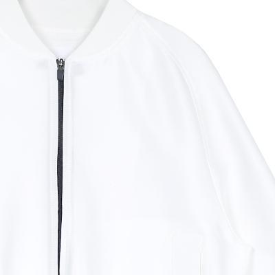 stand collar wind breaker white