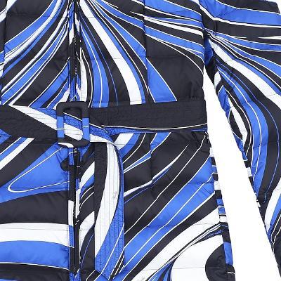 unique pattern belted padding jumper