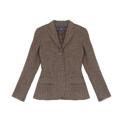 herringbone pattern jacket brown