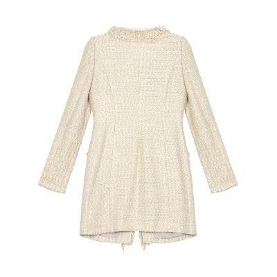 fur detail tweed coat ivory