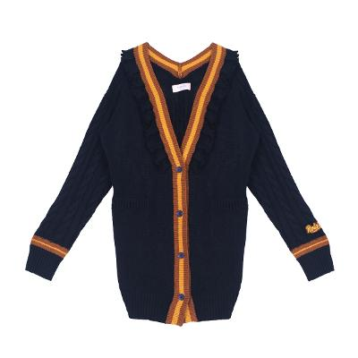 frill detail color point cardigans