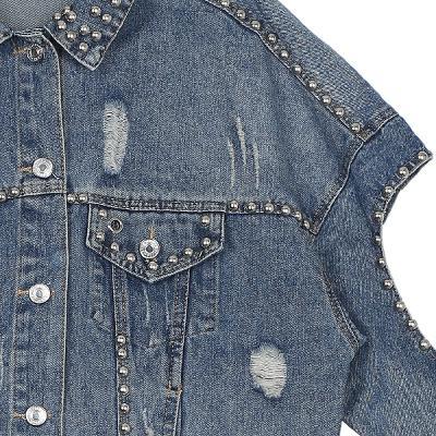stud point cutting detail denim jacket
