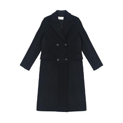 back point double button coat black