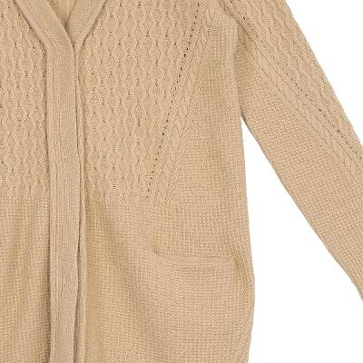 mixed texture cardigans brown