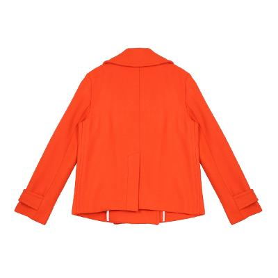 gold button point short coat red