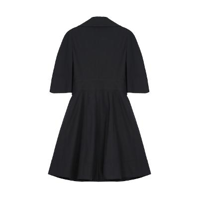 ruffle detail flare line coat black