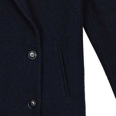 double button simple coat navy