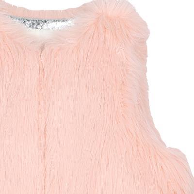 soft texture fur vest pink