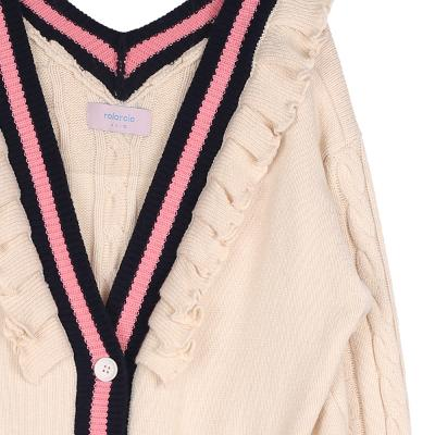 frill twist knit cardigan ivory