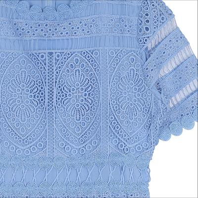 lace embroidery blouse skyblue