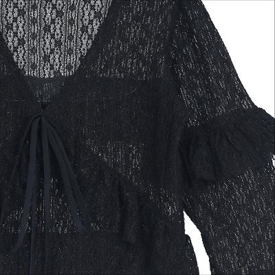 see through lace blouse black