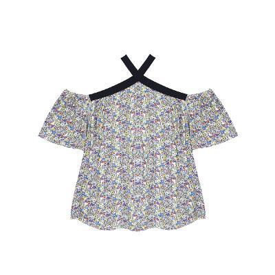 pattern off-shoulder blouse multi