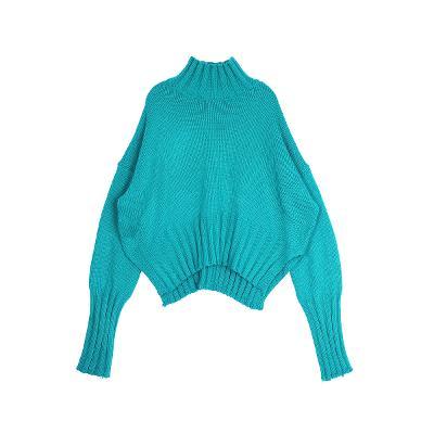 drop shoulder puff knit emerald