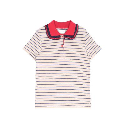 pleats collar stripe t-shirts beige