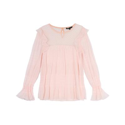 frill blouse pink