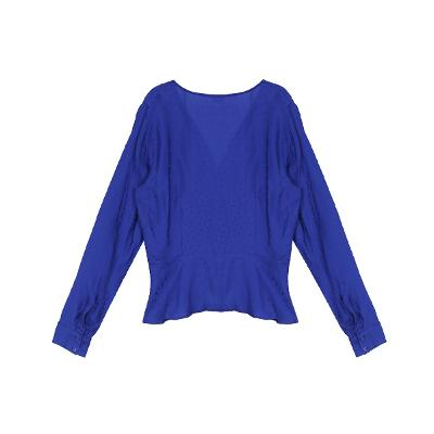 wrap ribbon blouse blue