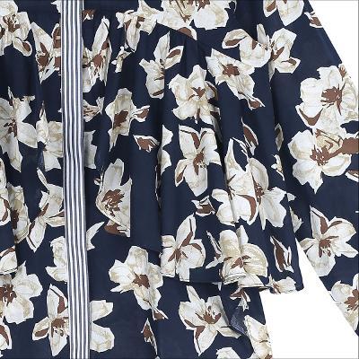 flower pattern ruffle blouse