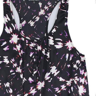 shirring detail sleeveless top black