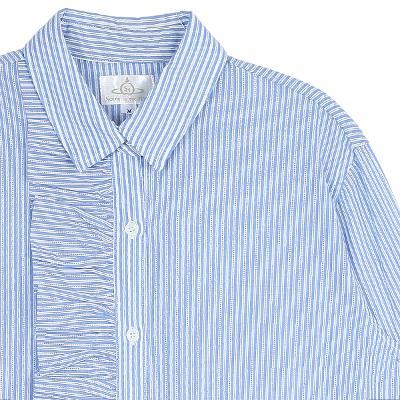unbalance ruffle stripe shirt blue4