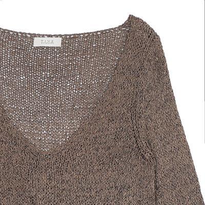 natural v-neck knit brown