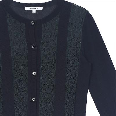 lace detail round neck cardigan navy