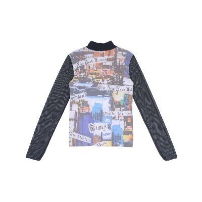 paper art printing high neck t-shirt