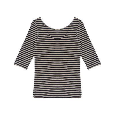 boat neck half sleeve stripe t-shirt black