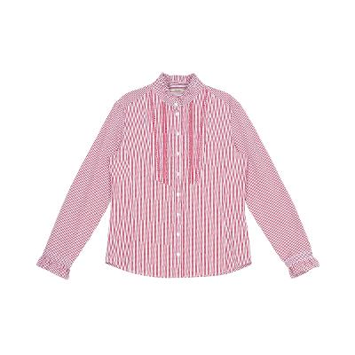 frill detail stripe shirt red