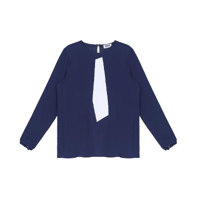 white point blouse blue