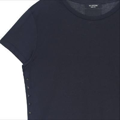side stud detail t-shirts black