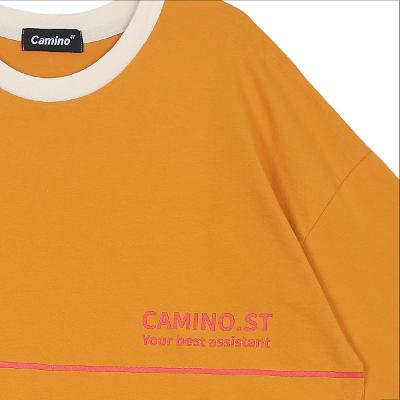 logo point color trimming t-shirt orange