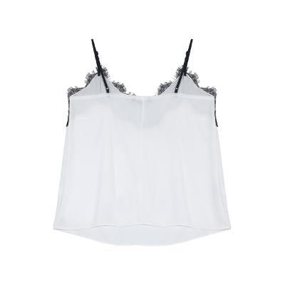 lace detail silky bustier white