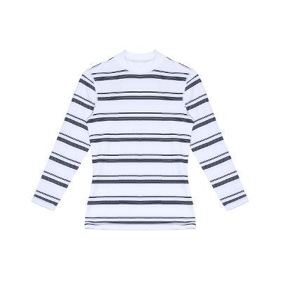 stripe pattern rash guard white