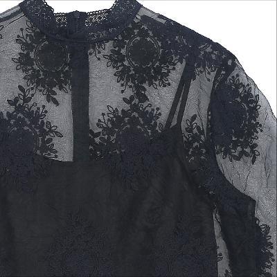 see-through detail lace blouse black