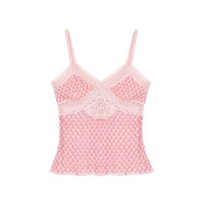 lace point knit bustier pink