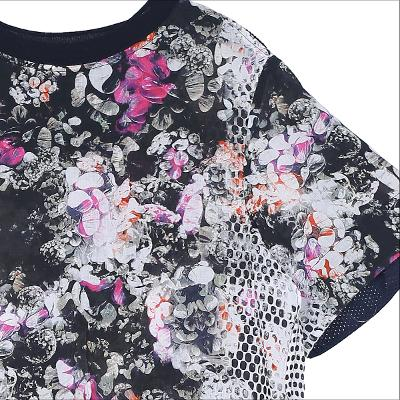 side mesh detail flower blouse