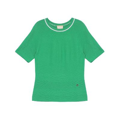 line point slim knit top green