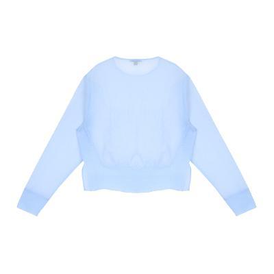side slit detail sheer blouse skyblue
