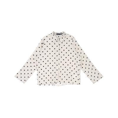dot pattern sheer shirts beige