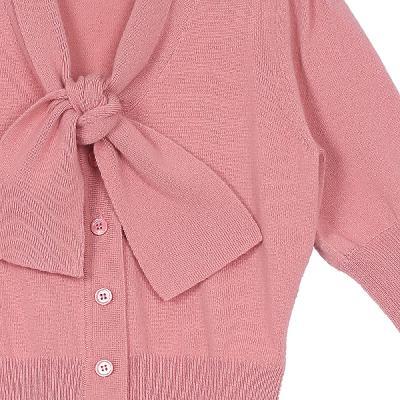 tie collar puff sleeve cardigans pink