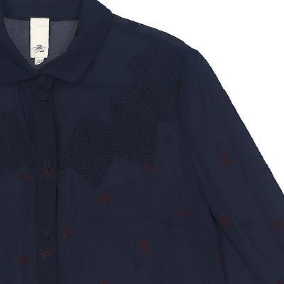 lace detail yoke blouse navy