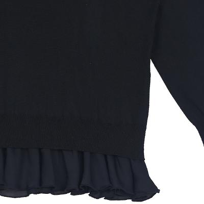 frill detail knit t-shirt black