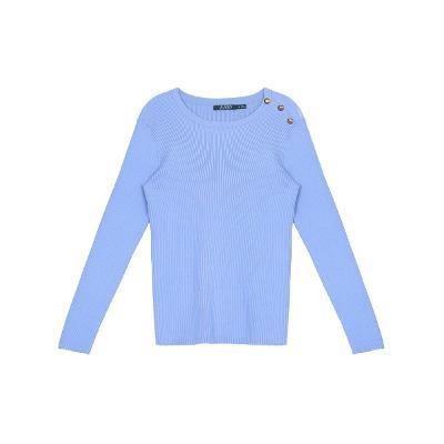 shoulder button knit top blue